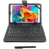 DURAGADGET Funda / Teclado ESPAÑOL Para Samsung Galaxy Tab S 8.4-inch Wi-Fi SM-T700 / SM-T705 - Con Conexión MicroUSB + Lápiz Stylus