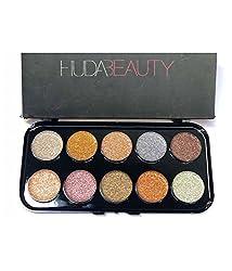 Huda Beauty 10 Ultra Pigmented Glitter Eyeshadow Palette - Light