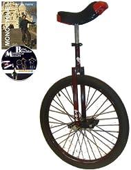 Monocycle Dodo 24 pouces (60cm) ROUGE - Convient pour la route à partir de 13 ans + DVD offert