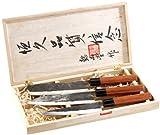 PEARL Messer: 3-teiliges Messerset, handgefertigt, mit Echtholzgriff (Küchenmesser Set)
