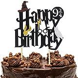 Wuree Doppelseitige Glitter schwarz Harry Potter inspiriert Alles Gute zum Geburtstag Kuchen Topper Assistent Party Supplies