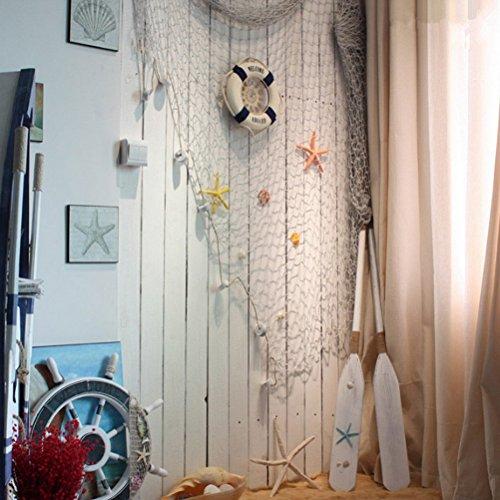 ofoen Dekoratives Fischernetz, beige, dekorativer Hintergrund für Bar oder Party, hängende Dekoration, 100x - Haken Fischernetz Oder