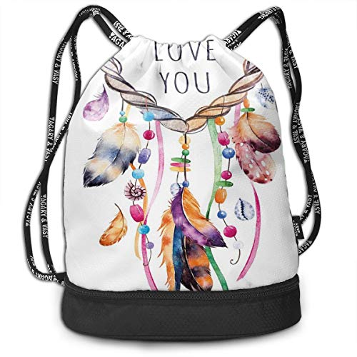 LULABE Printed Drawstring Backpacks Bags,Hand Drawn Dream Catcher Illustration Ethnic Bohemian Style Image Vibrant Colored,Adjustable String Closure (Halloween Goodie Bags Kids)