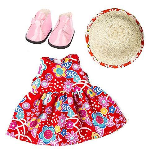 3 Piezas Ropa Vestido Estampado Verano sin Manga+ Sombrero de Paja+Zapatos Moda para 18 Pulgadas Muñeca Americana Chica Gusspower