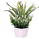 PG Creations Leaves Bunch Artificial Flower Plant With Plastic Vase Pot ( Size 30 Cm | Green )