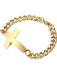 Contever® Titanio de Acero Inoxidable Cruz Bracelet Chain Brazaletes Pulsera Para los Hombres de la Pulsera 20 cm Longitud Color Dorado