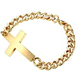 Contever® Titanium Edelstahl Kreuz Armbänder Armband Bracelet Link für Männer 20,5 cm Länge Goldene Farbe