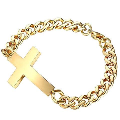 Contever® Titane en acier inoxydable Croix Bracelets Pour hommes Fashion Bracelet Per 20 CM Longueur couleur d'or