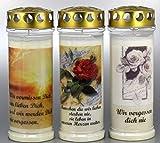 Kerzen Junglas- Grablichtkerze, Grabkerze, 3er Set- 20x7,5 cm - 3857 - ca. 7 Tage Brenndauer je Grablicht - Grabkerze mit Motiv und Spruch - Trauerkerze mit Foto und Spruch