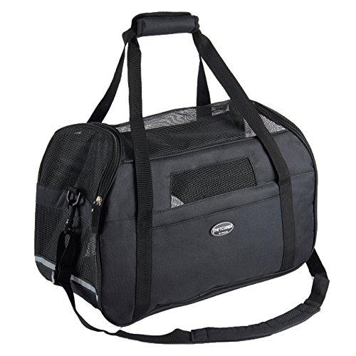 Tragetasche für Hunde & Katzen mit Tragegriff und Schultergurt Hundetasche Komfort Airline Genehmigte Hundetasche Weich-seitig Hund Tasche mit Matte belastet 7 kg, Schwarz