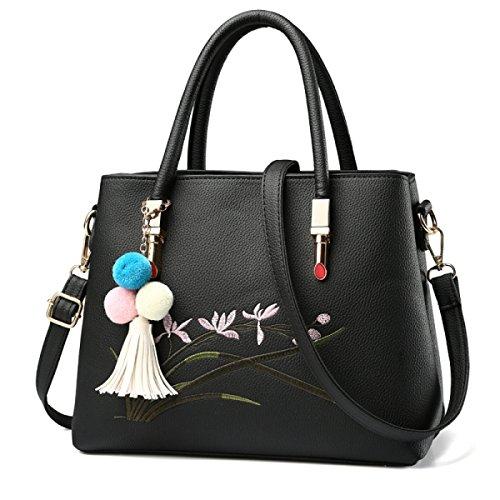 Damen Handtaschen Mode Umhängetasche Diagonal Paket Korean Version Soft Side PU Handtaschen Stickerei Thread Damen Tasche A