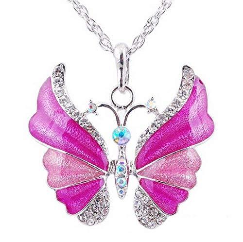 Rosa - Halskette Schmetterling Strass Große Lange Silber Farbe Perlata Frau Mädchen Geschenk Idee Valentine (Ideen Für Kinder Valentine)