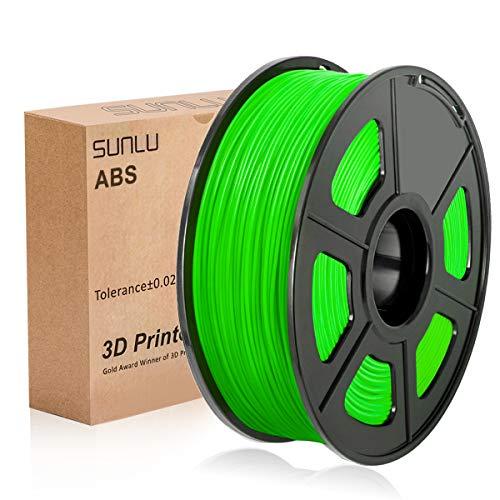 SUNLU 3D Printer Filament ABS, 1.75mm ABS 3D Printer Filament, 3D Printing Filament ABS for 3D Printer, 1kg, Green
