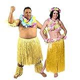 Déguisement Hawaïen accessoires pour couple avec le costume de guerrier pour homme (XLarge) et l'ensemble jupe, soutien-gorge et collier de fleurs pour femme (Jaune). Idéal pour les vacances à la plage ou les enterrements de vie de garçon et de jeune fille.