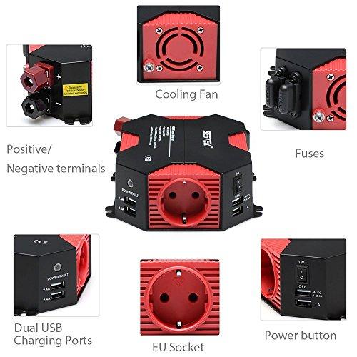 BESTEK Convertisseur de Tension 12V 220 230V Allume Cigare 400W avec 4 USB 5A et 1 Prise de Sortie Européenne