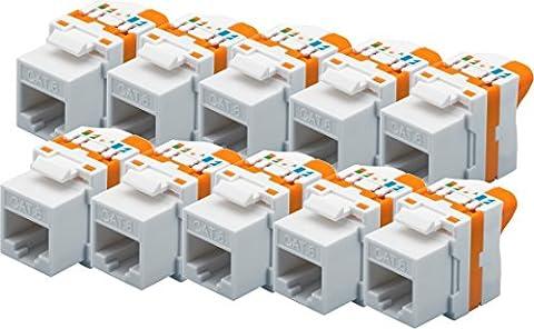10x werkzeugfreie KeyStone Buchse CAT6 RJ45 Buchse, UTP ungeschirmt für Gigabit Ethernet LAN für einfaches Anschließen ohne Werkzeug