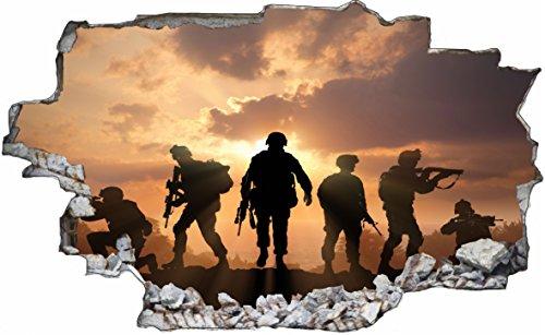 DesFoli Soldat Soldier Armee Army Militär 3D Look Wandtattoo 70 x 115 cm Wand Durchbruch Wandbild Sticker Aufkleber C212