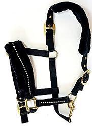 White Horse Equestrian Diamond Head Collar - Faux Fleece Adjustable Horse Pony