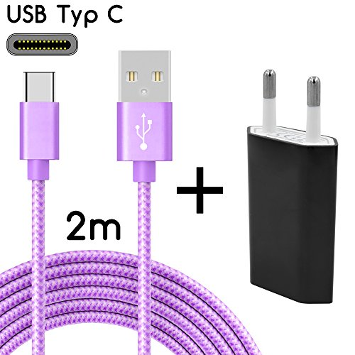 TheSmartGuard USB-C Ladegerät / 2in1 Ladeset / USB-Typ-C Ladekabel mit Netzteil / Netzstecker für S9, S9+, S8, A8, A8+, Note 8, Sony XZ, XA1, XZ1, HTC 10, U11, Huawei P10 und viele mehr | Nylon | Lila | 2 Meter / 2m (Usb-hub-lila)