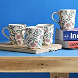 Miah Decor Ribbed Decal Multicolour Stoneware 300 ML Mugs - Set Of 4