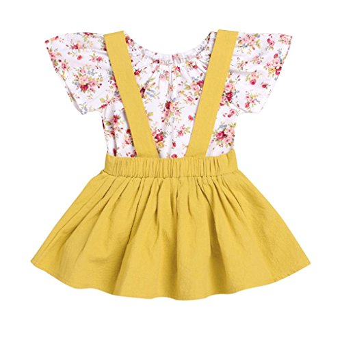 Yanhoo 2Pcs Children Floral Print Short Sleeve Romper + Bib Skirt Two Piece Set Rompers Jumpsuit Strap Skirt Outfits Set (Gelb, 110)