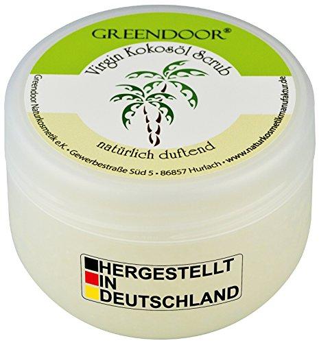 Greendoor KÖRPERPEELING Kokosöl VIRGIN 230g, mit nativem Cocosöl, natürlicher frischer Kokosnuss-Duft, Natur-Peeling ohne Parfum, Anti-Aging, Kokos Sugar-Scrub gegen Cellulite, vegane Naturkosmetik