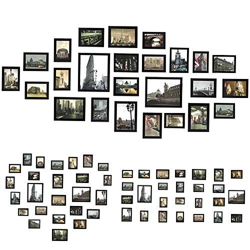 Titolo: Sungle Portafoto multiplo da parete Cornice per foto in Legno Set di 26 pezzi. (nero)