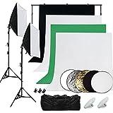 Desty Fondos Estudio Fotografico Kit Iluminacion LED - 4 Fondos Blanco Negro Verde Gris + 2x 50*70cm Softbox Kit + 2x LED Luces Estudio + 2*2m Soporte para Fondo Fotografico + Bolsa de Transporte