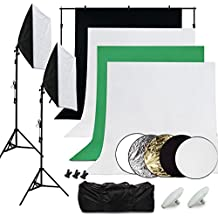 Desty Kit Iluminación de Estudio Fotografía Profesional - 4 Fondos Blanco Negro Verde Gris + 2x 50*70cm Softbox Kit + 2x LED Luces Estudio + 2*2m Soporte para Fondo Fotografico + 5x Reflectores + Bolsa de Transporte