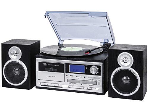 Trevi TT 1070 E Sistema Giradischi Stereo Bluetooth con Encoding, Lettore Mp3, CD, USB, Aux-In, SD, Musicassette, Radio AM/FM, Nero