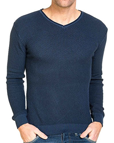 BLZ jeans - Pull maille homme col v bleu navy Bleu