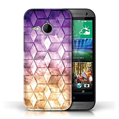 Coque de Stuff4 / Coque pour HTC One/1 Mini 2 / Vert/Bleu Design / Cubes colorés Collection Violet / Orange