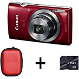 Canon IXUS 160 Digital Camera - Red + Case and 8GB Memory Card (20MP, 8x Optical Zoom) 2.7 inch LCD