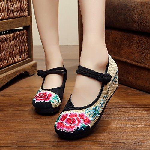 &QQ Chaussures brodées, lin, semelle tendine, style ethnique, chaussures féminines, mode, confortable, pente Augmenté Black