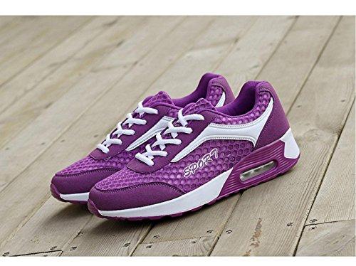 WZG Frau Polster Schuhe Mode Hohlwaben Mesh Kissen Laufschuhe beiläufige Sportschuhe Blue