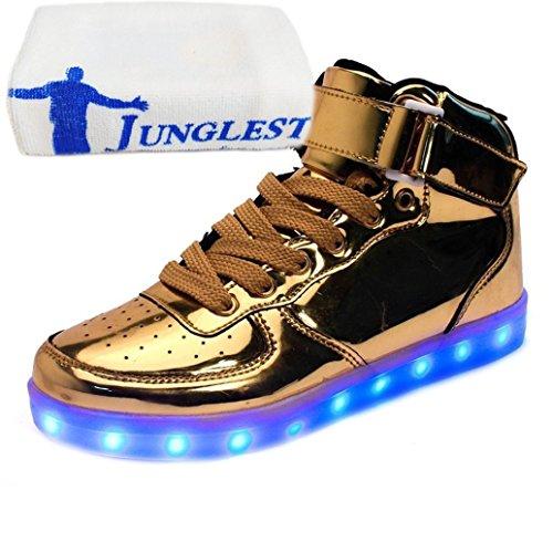 [Présents:petite serviette]JUNGLEST® Chaussures Lumineuse 7 Couleurs LED Rechargeable USB Baskets Sneaker Or