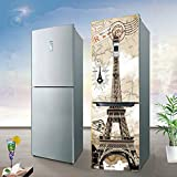 HHYS Kühlschrank-Aufkleber Wandschrank Abdeckung DIY Self Adhesive Abnehmbar Wasserdicht Für Eiffelturm-Muster,60*150Cm