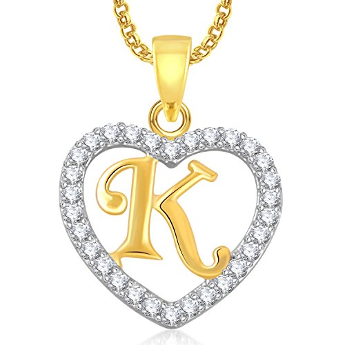 Meenaz Gold Plated 'K' Letter Heart Pendant Locket Alphabet With Chain In American Diamond Cz For Women And Men Ps404