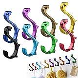 ASIV Handtuchhaken aus Aluminium, Kleiderhaken, Hut Haken, Montierter Haken Für Bad Und Küche, Tragkraft 12kg, 98 x 53 mm, Zufällige Farbe