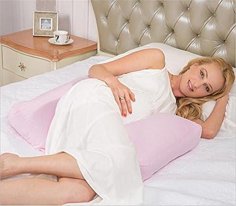 DU&HL Grossesse réglable Retour Oreiller, régleurs 360 ° Cuddle ME Side Sleeping pour Belly maternité taille Wedge Pillow avec 100% coton Zipper amovible, Rose