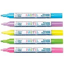 Pennarelli Acrilici Pastello Baker Ross (confezione da 5) - Forniture per arte e artigianato - Rosa, blu, viola, giallo e verde