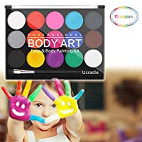 Ucradle Face Paint Palette - 15 Colours Non-Toxic Professional Palette Washable Safe Facepainting for Halloween Party, Holiday Makeup Body, Face Paint Kit for Kids
