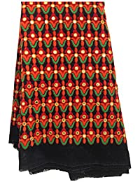 Kurti Material Blouse Fabric Black dupion, multicolour kutch embroidery, orange red, blouse unstitched