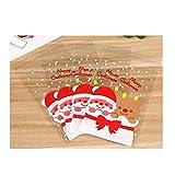 Cosanter - Sacchetti trasparenti, 100 pezzi, motivo: Babbo Natale, per conservare e confezionare caramelle, dolci e cioccolatini