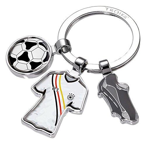 """TROIKA FREE KICK SCHLÜSSELHALTER FUSSBALL - #KYR18-A107 - Motiv: \""""FREE KICK\"""" - Fußball, Trikot, Ball - Schlüsselring mit Charms - das Original von TROIKA"""