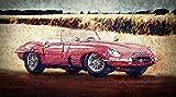 Kunst Druck Bild Jaguar E-Type Roadster Leinwand Poster Tapete Mousepad Acrylglas Alu-Dibond BalsaHolz Aufkleber (180 mal 100 cm, Massive Acrylglasplatte (3mm))