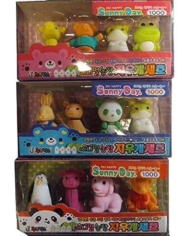 1 paquet de 4 couleurs fantaisie Motif animaux à collectionner : Designs peuvent varier, sélection aléatoire, non Iwako gomme - Fat-Catz-Copy-Catz