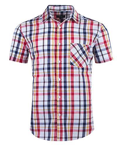 Rot-kariertes Button-down-shirt (Nutexrol Herren Hemd Kurzarm Karo-Hemd 100% Baumwolle Figurbetontes Freizeithemd kariert, Rot & Blau, S)