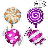 TOYMYTOY 21pcs Bonbons Ballons Lollipop Feuille Ballon pour Anniversaire Fête Mariage Décoration