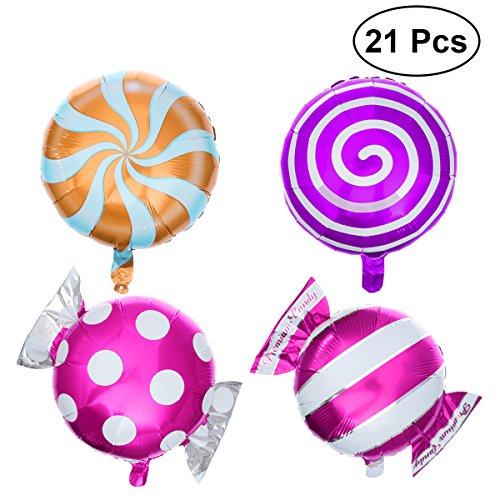 NUOBESTY 21 Stück Süßigkeiten Luftballons Set Runde Lutscher Luftballons Geburtstagsfeier Hochzeit süße Dekoration